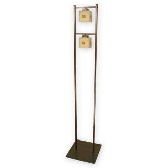 LEMIR O1199/L2 BR | Echo Lemir podna svjetiljka 162cm sa nožnim prekidačem 2x E27 smeđe, antik zlato , krem