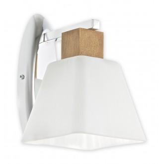 LEMIR O1470 DB | Dreno Lemir zidna svjetiljka 1x E27 krom, boja hrasta, bijelo