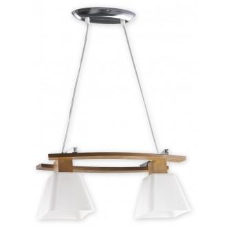 LEMIR O1472 DB | Dreno Lemir visilice svjetiljka s mogućnošću skraćivanja kabla 2x E27 krom, boja hrasta, bijelo