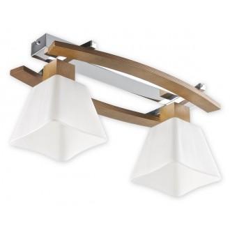 LEMIR O1472P DB | Dreno Lemir stropne svjetiljke svjetiljka 2x E27 krom, boja hrasta, bijelo
