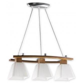 LEMIR O1473 DB | Dreno Lemir visilice svjetiljka s mogućnošću skraćivanja kabla 3x E27 krom, boja hrasta, bijelo