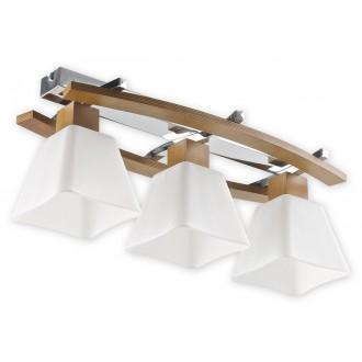 LEMIR O1473P DB | Dreno Lemir stropne svjetiljke svjetiljka 3x E27 krom, boja hrasta, bijelo