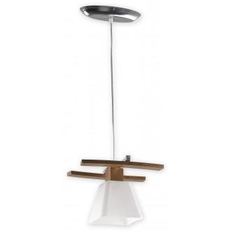 LEMIR O1477 DB | Dreno Lemir visilice svjetiljka s mogućnošću skraćivanja kabla 1x E27 krom, boja hrasta, bijelo