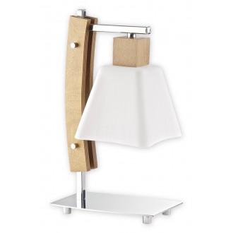 LEMIR O1478 DB | Dreno Lemir stolna svjetiljka 34cm sa prekidačem na kablu 1x E27 krom, boja hrasta, bijelo