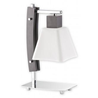 LEMIR O1478 WG | Dreno Lemir stolna svjetiljka 34cm sa prekidačem na kablu 1x E27 krom, venga, bijelo