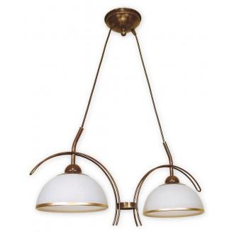 LEMIR O1482 BR | FlexL Lemir visilice svjetiljka 2x E27 smeđe, antik zlato , bijelo