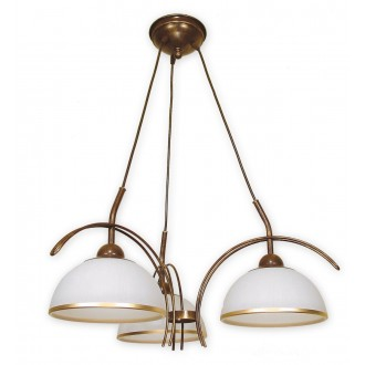 LEMIR O1483 BR | FlexL Lemir luster svjetiljka 3x E27 smeđe, antik zlato , bijelo
