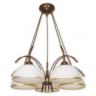 LEMIR O1485 BR | FlexL Lemir luster svjetiljka 5x E27 smeđe, antik zlato , bijelo