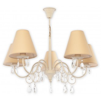 LEMIR O1965 AB BEZ | Velio-Abazur Lemir luster svjetiljka 5x E27 antik bijela, bež