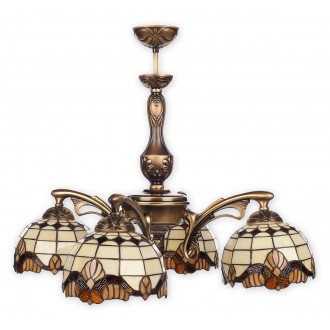 LEMIR O2064 W4 PAT | Vitrus Lemir luster svjetiljka 4x E27 bronca, višebojno