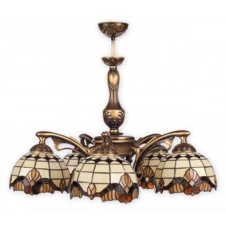 LEMIR O2065 W5 PAT | Vitrus Lemir luster svjetiljka 5x E27 bronca, višebojno