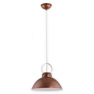 LEMIR O2375 W1 MAB | Ajla Lemir visilice svjetiljka s mogućnošću skraćivanja kabla 1x E27 crveni bakar, antik bijela