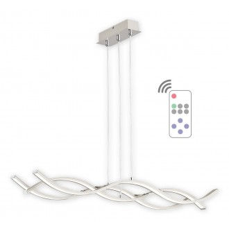 LEMIR O2513 W3 SAT + PILOT-NW | Linea-LED Lemir visilice svjetiljka daljinski upravljač s podešavanjem visine, jačina svjetlosti se može podešavati 1x LED 5760lm 4000K krom saten, krom, bijelo