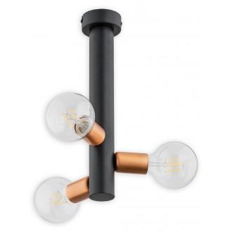 LEMIR O2823 W3 CZA | Foco Lemir stropne svjetiljke svjetiljka 3x E27 crno mat, crveni bakar