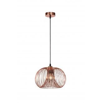 LUCIDE 02400/30/17 | Vinti Lucide visilice svjetiljka s mogućnošću skraćivanja kabla 1x E27 crveni bakar, crno