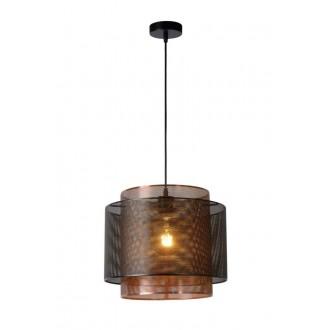 LUCIDE 02404/01/30 | Orrin Lucide visilice svjetiljka s mogućnošću skraćivanja kabla 1x E27 crno, smeđe