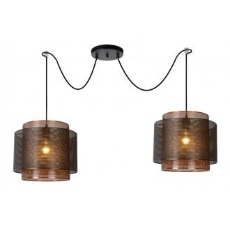 LUCIDE 02404/02/30 | Orrin Lucide visilice svjetiljka s mogućnošću skraćivanja kabla 2x E27 crno, smeđe