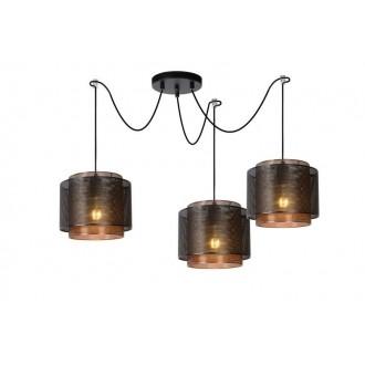 LUCIDE 02404/03/30 | Orrin Lucide visilice svjetiljka s mogućnošću skraćivanja kabla 3x E27 crno, smeđe