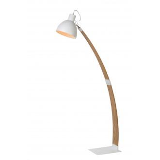 LUCIDE 03713/01/31 | Curf Lucide podna svjetiljka 143cm s prekidačem pomjerljivo 1x E27 drvo, bijelo