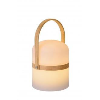 LUCIDE 06800/03/31 | Joe Lucide dekoracija svjetiljka tvlaknoepeni prekidač baterijska/akumulatorska 1x LED 278lm 2800 - 3200K IP44 opal, drvo