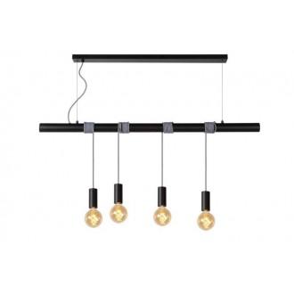 LUCIDE 08425/04/30 | Jaime Lucide visilice svjetiljka s mogućnošću skraćivanja kabla 4x E27 crno