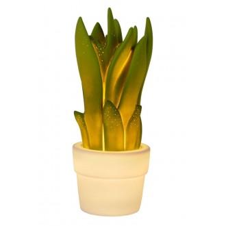 LUCIDE 13522/01/33 | Sansevieria Lucide stolna svjetiljka 31,6cm 1x E14 bijelo, zeleno