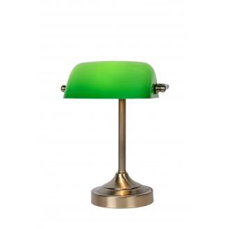 LUCIDE 17504/01/03 | BankerL Lucide stolna svjetiljka 30cm s prekidačem 1x E14 bronca, zeleno