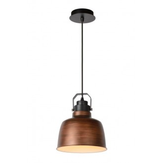 LUCIDE 21413/21/17 | Naut Lucide visilice svjetiljka s mogućnošću skraćivanja kabla 1x E27 crno, bakar