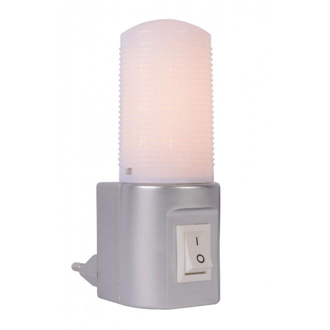 LUCIDE 22202/01/36 | Led-Night-Light Lucide noćno svjetlo svjetiljka s prekidačem 1x LED 50lm 2700K srebrno, opal