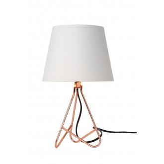 LUCIDE 47500/81/17 | Gitta Lucide stolna svjetiljka 29cm sa prekidačem na kablu 1x E14 bronca, bijelo