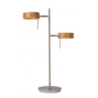LUCIDE 48551/10/72 | Enia Lucide podna svjetiljka 54,5cm sa prekidačem na kablu 2x LED 400lm 3000K krom, drvo