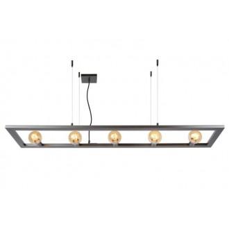 LUCIDE 73403/05/15 | Thor-LU Lucide visilice svjetiljka s mogućnošću skraćivanja kabla 5x E27 čelična siva