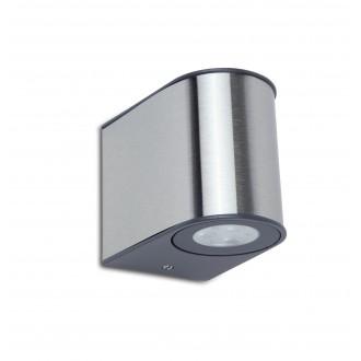 LUTEC 5189002118 | Gemini Lutec zidna svjetiljka 1x LED 500lm 4000K IP54 srebrna siva, prozirno