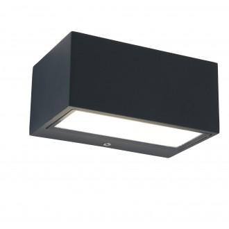 LUTEC 5189102118 | Gemini Lutec zidna svjetiljka 1x LED 500lm 4000K IP54 antracit siva, prozirno