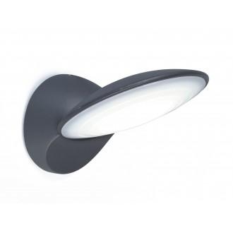 LUTEC 5189601118 | Tona Lutec zidna svjetiljka 1x LED 600lm 3000K IP44 antracit siva, opal