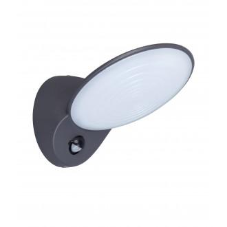 LUTEC 5189602118 | Tona Lutec zidna svjetiljka sa senzorom, svjetlosni senzor - sumračni prekidač 1x LED 600lm 3000K IP44 antracit siva, opal