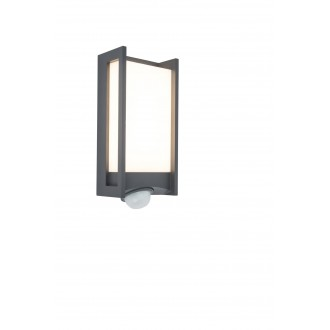 LUTEC 5193002118 | Qubo Lutec zidna svjetiljka sa senzorom, svjetlosni senzor - sumračni prekidač elementi koji se mogu okretati 1x LED 800lm 3000K IP54 antracit siva, opal