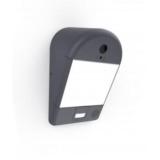 LUTEC 5194901118 | Camera_Light-Mimo Lutec lampa sa kamerom zidna sa senzorom, svjetlosni senzor - sumračni prekidač zvučnik, mikrofon, jačina svjetlosti se može podešavati, spajanje na Wi-Fi 1x LED 1200lm 3000K IP54 tamno sivo, opal