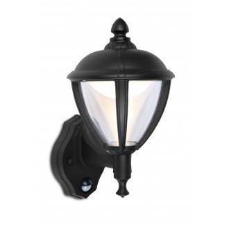 LUTEC 5260103012 | Unite Lutec zidna svjetiljka sa senzorom, svjetlosni senzor - sumračni prekidač 1x LED 330lm 3000K IP44 crno, prozirno