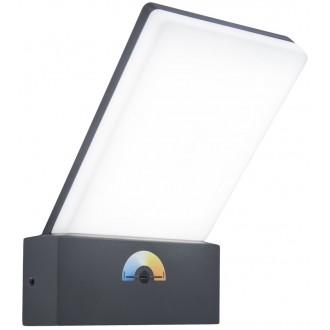 LUTEC 5289001118 | Pano Lutec zidna svjetiljka jačina svjetlosti se može podešavati, sa podešavanjem temperature boje 1x LED 1200lm 3000 <-> 5000K IP54 tamno siva, opal
