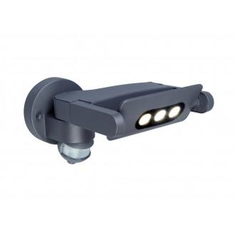 LUTEC 5614404118 | Mini-LedspoT Lutec zidna svjetiljka sa senzorom, svjetlosni senzor - sumračni prekidač elementi koji se mogu okretati 1x LED 605lm 4000K IP54 antracit siva