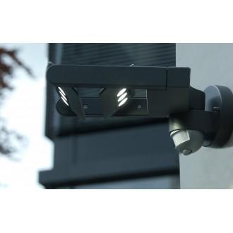 LUTEC 5614405118 | Mini-LedspoT Lutec zidna svjetiljka sa senzorom, svjetlosni senzor - sumračni prekidač elementi koji se mogu okretati 2x LED 1210lm 4000K IP54 antracit siva