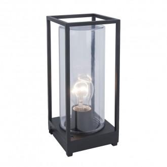 LUTEC 6588801012 | Flair Lutec stolna svjetiljka 27,2cm sa kablom i vilastim utikačem 1x E27 IP44 crno mat, prozirno