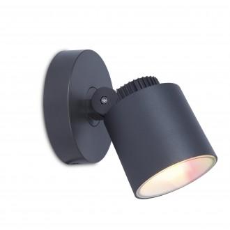 LUTEC 6609204118 | WiZ-Explorer Lutec spot WiZ smart rasvjeta jačina svjetlosti se može podešavati, sa podešavanjem temperature boje, promjenjive boje, elementi koji se mogu okretati, spajanje na Wi-Fi 1x LED 430lm 2200 <-> 6500K IP54 tamno sivo