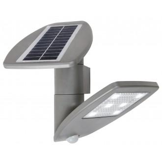 LUTEC 6901101000 | Pole_Drop_Bread_Zeta Lutec zidna svjetiljka sa senzorom, s prekidačem solarna baterija, elementi koji se mogu okretati 1x LED 200lm 4000K IP44 srebrna siva, prozirno
