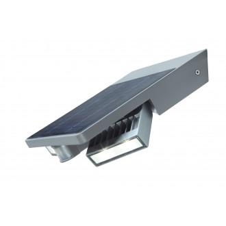 LUTEC 6901201000 | Tilly-LU Lutec zidna svjetiljka sa senzorom, s prekidačem solarna baterija, elementi koji se mogu okretati 1x LED 420lm 4000K IP44 srebrna siva, prozirno