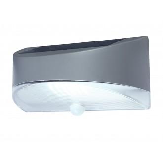 LUTEC 6901501000 | Pole_Drop_Bread_Zeta Lutec zidna svjetiljka sa senzorom, s prekidačem solarna baterija 1x LED 100lm 4000K IP44 srebrna siva, prozirno