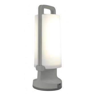 LUTEC 6904101337 | Dragonfly-LU Lutec nosiva, stolna svjetiljka sa tiristorski dodirnim prekidačem solarna baterija, jačina svjetlosti se može podešavati, USB utikač, elementi koji se mogu okretati 1x LED 120lm 4000K IP54 srebrna siva, opal