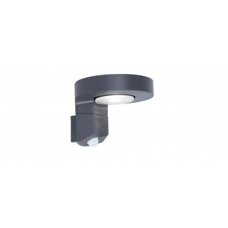 LUTEC 6906702335 | Diso Lutec zidna svjetiljka sa senzorom, s prekidačem solarna baterija, elementi koji se mogu okretati 1x LED 200lm 4000K IP44 antracit siva, prozirno