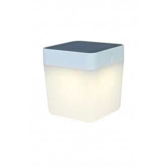 LUTEC 6908001331 | Table-Cube Lutec nosiva, stolna svjetiljka sa tiristorski dodirnim prekidačem solarna baterija, jačina svjetlosti se može podešavati 1x LED 100lm 3000K IP44 bijelo, opal